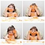 mutlu bebek komik dağınık yiyen — Stok fotoğraf