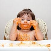 Happy funny messy eater — Stock Photo