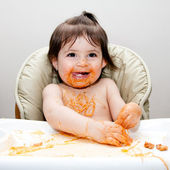 Happy fun messy eater — Stock Photo