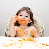 Happy fun messy eater — Stock Photo