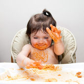 Happy funny messy eater — Stock Photo