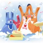 Rabbits Christmas chorals. — Stock Vector
