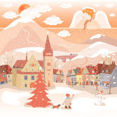 Angel, snow, city — Stock Vector