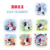 Catrabbit set — Stock Vector