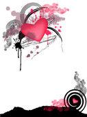 Corazón con grunge alas — Vector de stock