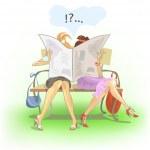 Girls reading — Stock Vector #4800173