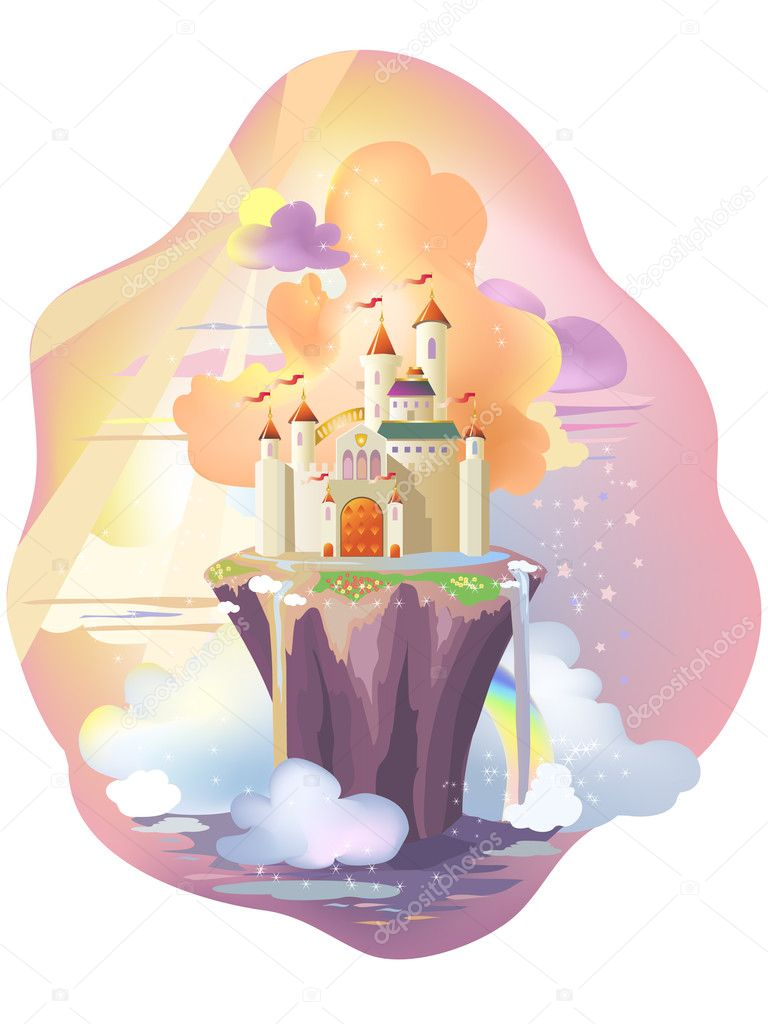 Fairy tale castle, on magic island.  — Stock Vector #5131557