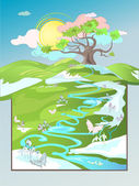 春の風景 — ストックベクタ