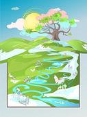 Frühlingslandschaft — Stockvektor