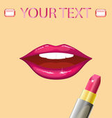 Lips and lipstick — Vector de stock