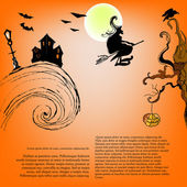 Vector illustrated Halloween background — Stock Vector