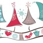 línea de árboles de Navidad — Vector de stock