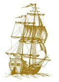 Ročník plachetnice — Stock vektor