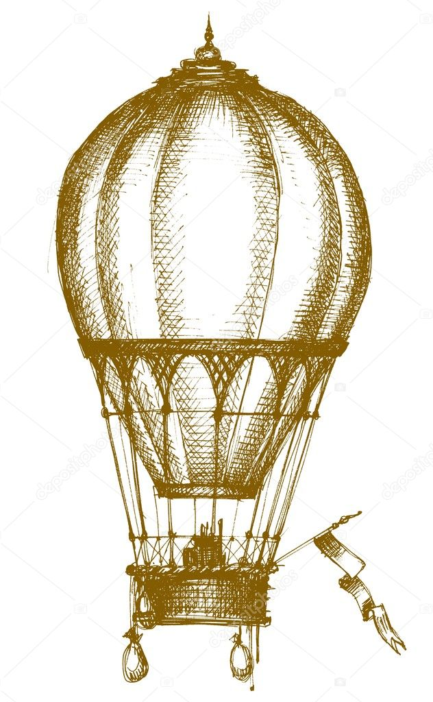 Hot air balloon sketch isolated over white — Stock Vector #4043721