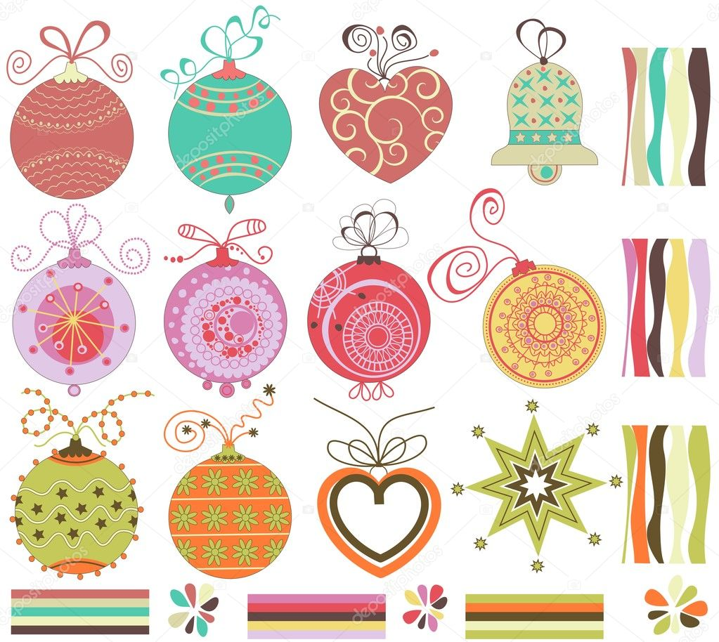 Retro Christmas balls collection — Stock Vector #4043844