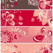 Cute love banners — Stock Vector
