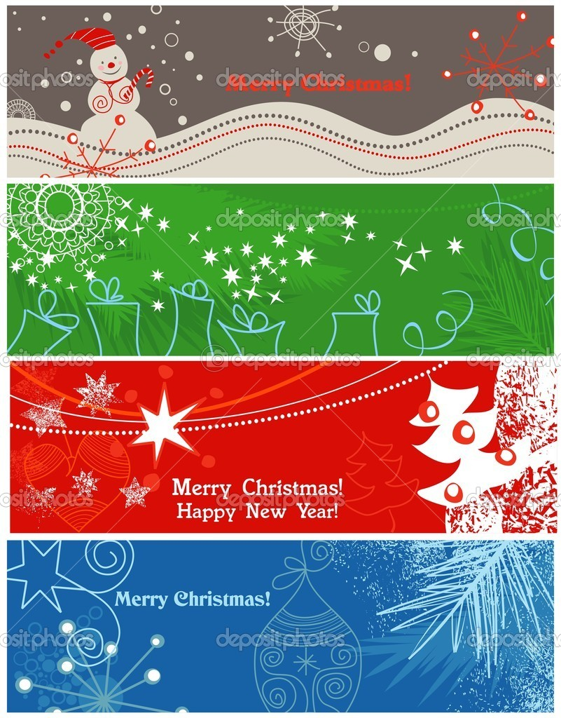 A collection of banners on Christmas theme — Stock Vector #4135457