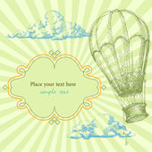 Retro frame with hot air balloon — Vector de stock