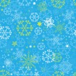Stock Vector: Blue snowflakes seamless pattern