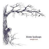 Winter landscape sketch — Stock Vector