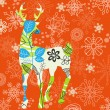 Decorative Christmas deer - Stok Vektr