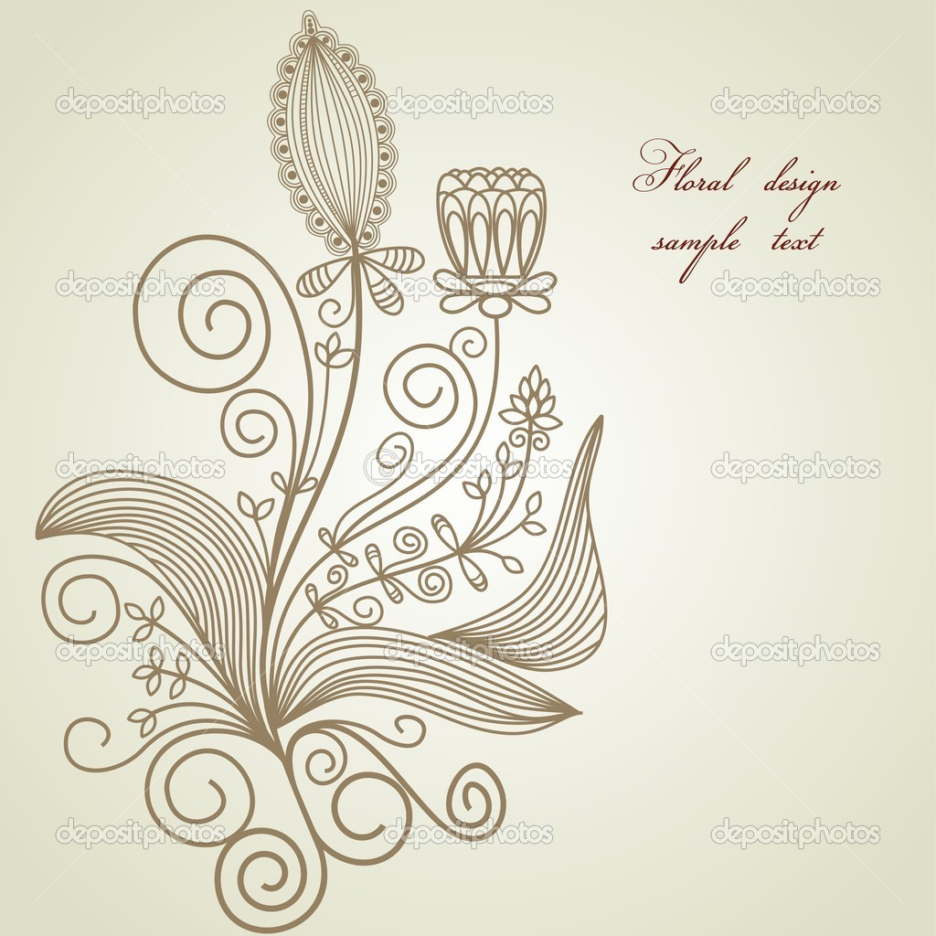 Hand drawn floral design element  — 图库矢量图片 #4580220