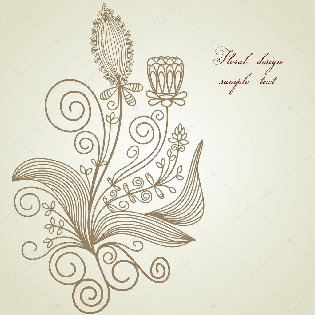 Hand drawn floral design element  — Stock Vector #4580220