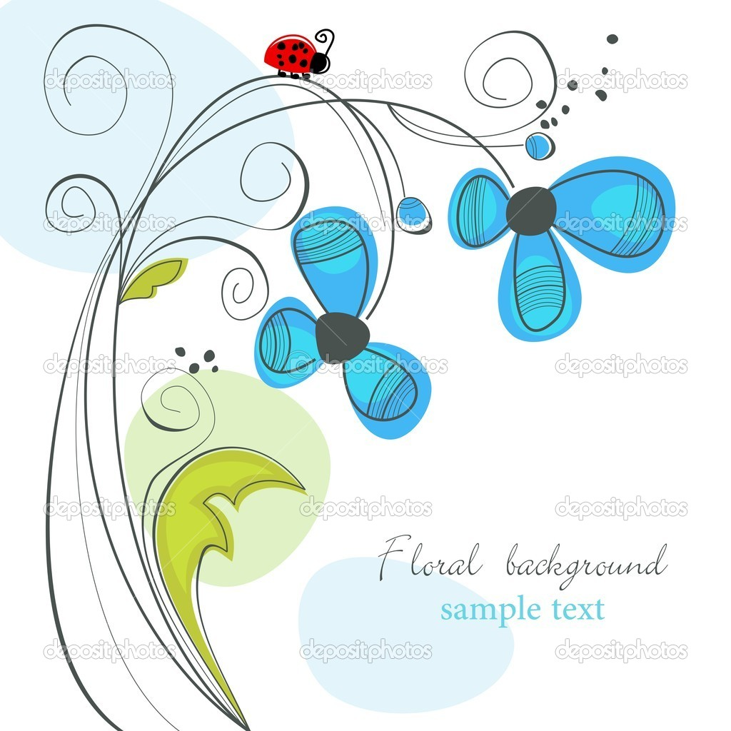 Cute floral background with ladybug  Stock Vector #4596147