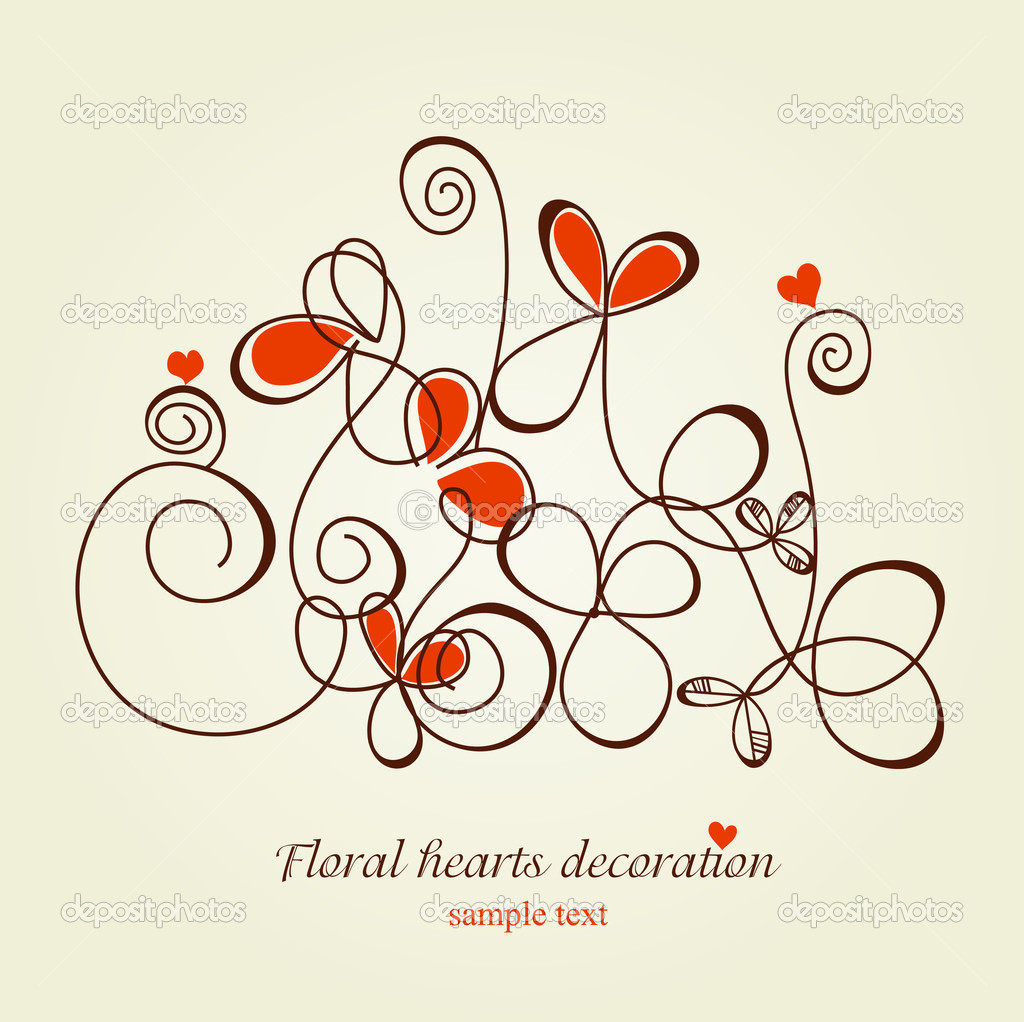Floral hearts decoration — Stock Vector #4916832