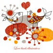 Royalty-Free Stock Imagen vectorial: Cute love birds