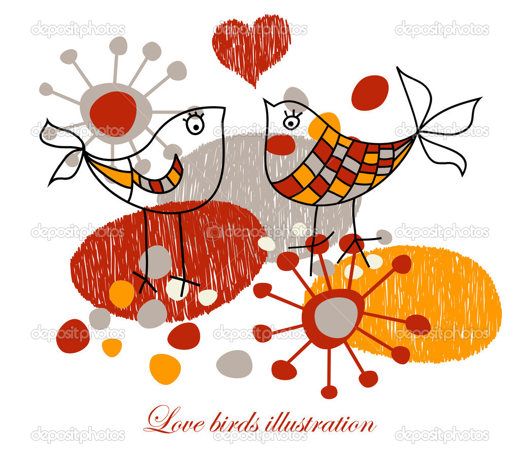 Cute love birds  Stock Vector #4951326