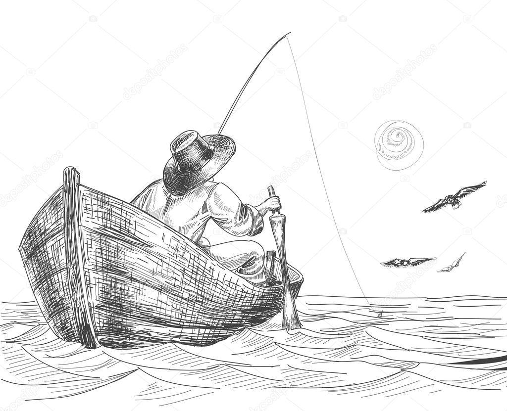 простой рисунок рыбалки карандашом