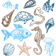 Royalty-Free Stock Vektorfiler: Marine life collection