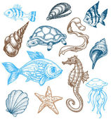 Marine life collection — Vector de stock