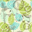Little elephants garden; seamless pattern - Stock Vector