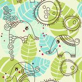 Little elephants garden; seamless pattern — Stock Vector
