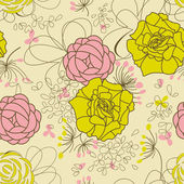 Floral seamless pattern, retro style — Stock Vector