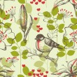 Bird and lilies seamless pattern — Vettoriali Stock