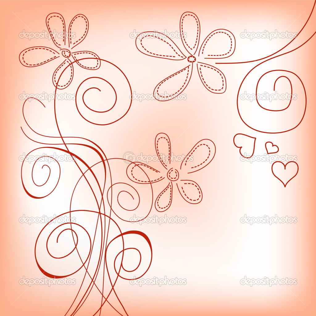 Hand drawn floral background  — Vettoriali Stock  #5258670