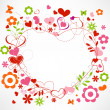 Hearts and flowers frame - Stok Vektr
