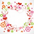Stock Vector: Hearts and flowers frame
