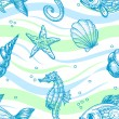 Marine seamless pattern — Stockvectorbeeld