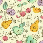 милые фрукты бесшовный фон — Cтоковый вектор