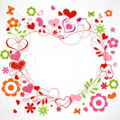Hearts and flowers frame — Stockvector