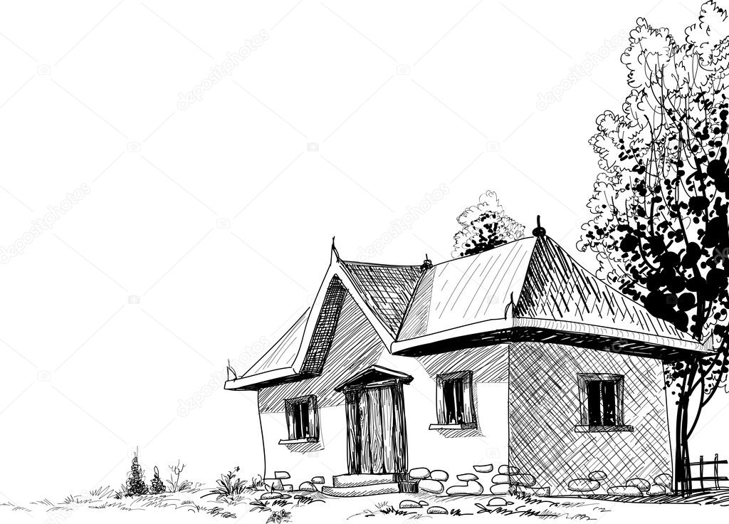 Old house sketch stock vector danussa 5278015 for House sketches from photos