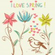 Royalty-Free Stock Vector Image: Cute bird in the flowers garden
