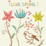 Cute bird in the flowers garden — Stock Vector