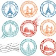 City stamps collection — Stok Vektör