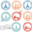 City stamps collection - Stok Vektör