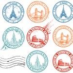 coleção de selos de cidade — Vetorial Stock